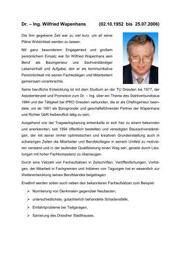 Dr. – Ing. Wilfried Wapenhans - Wapenhans und Richter
