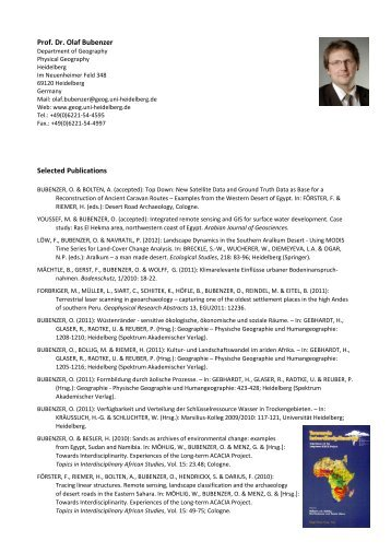 Prof. Dr. Olaf Bubenzer Selected Publications - Geographisches ...