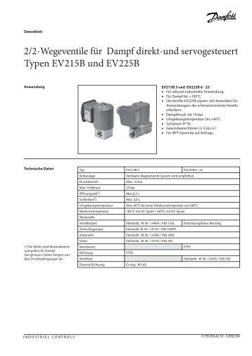 2/2-Wegeventile für Dampf direkt-und servogesteuert Typen ...