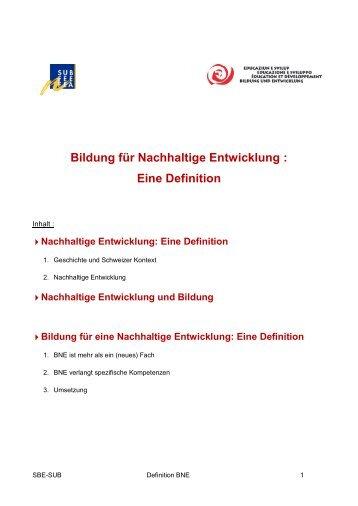 Bildung für eine Nachhaltige Entwicklung: Eine ... - BNE-Forum