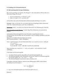 8. Grundlagen der Informationstheorie 8.1 Informationsgehalt ...