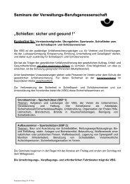 """Seminare der Verwaltungs-Berufsgenossenschaft """"Schießen: sicher ..."""