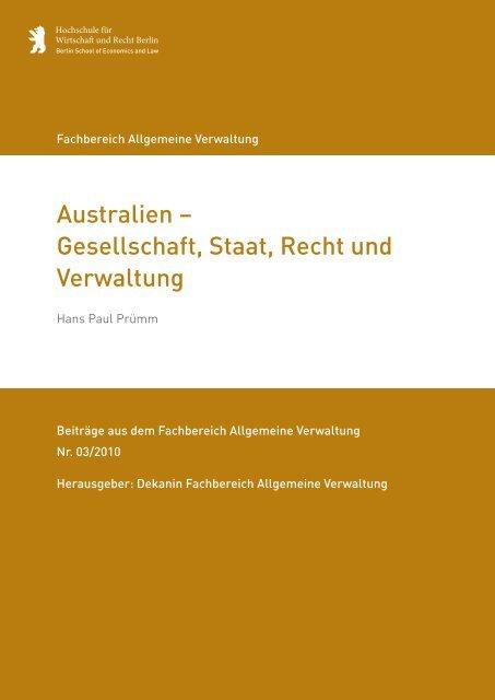 Australien – Gesellschaft, Staat, Recht und Verwaltung - HWR Berlin