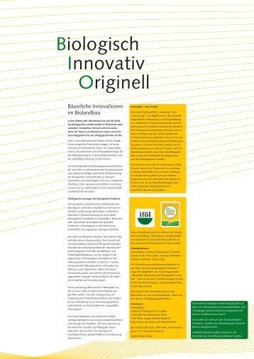 Biologisch, Innovativ, Originell - Institut für ökologischen Landbau ...