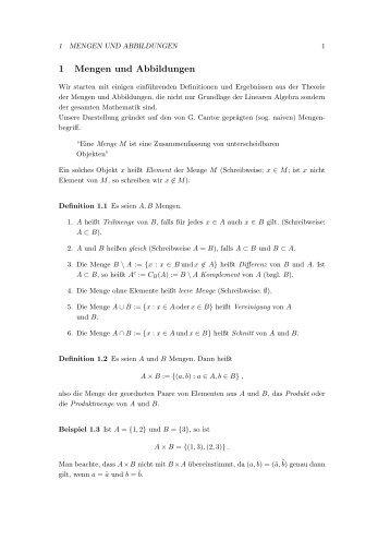 1 Mengen und Abbildungen - Mathematik