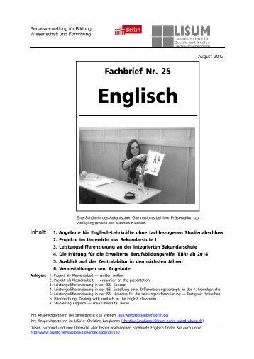 Englisch Grundschule Fachbrief 5 Bildungsserver Berlin
