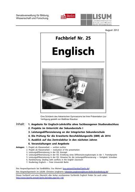 Fachbrief Englisch Nr 25 Bildungsserver Berlin Brandenburg