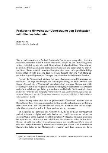 Praktische Hinweise zur Übersetzung von Sachtexten mit ... - SAGV
