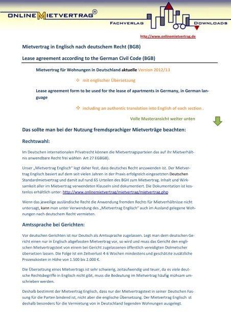 Mietvertrag Englisch Deutsch Mit übersetzung Onlinemietvertrag