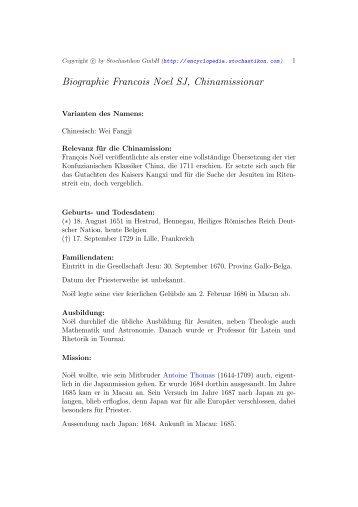 Biographie Francois Noel SJ, Chinamissionar