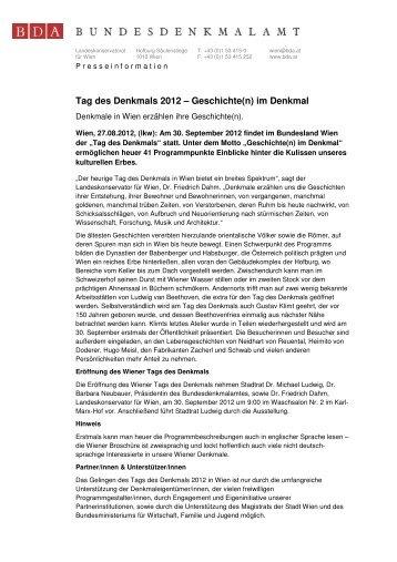 Pressetext zum TdD in Wien - Tag des Denkmals
