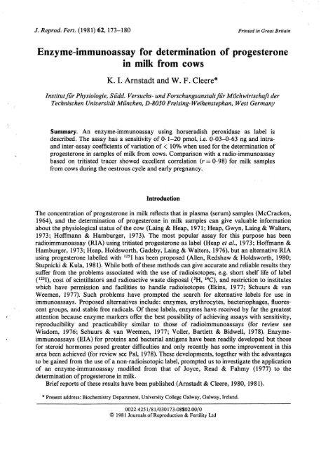 Enzyme-immunoassay for determination of ... - Biolab München