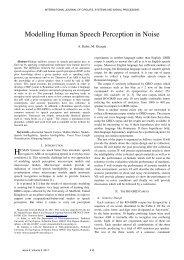 Modelling Human Speech Perception in Noise - Naun.org