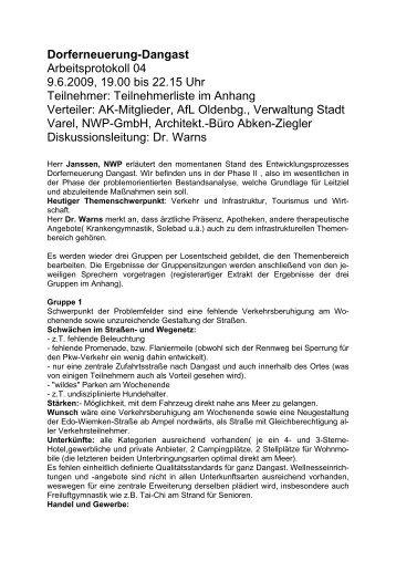 Dorferneuerung-Dangast Arbeitsprotokoll 04 9.6.2009 ... - Stadt Varel