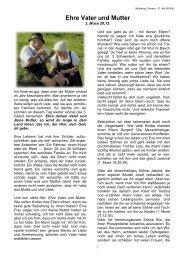 Ehre Vater und Mutter - Chrischona Gemeinde Sissach