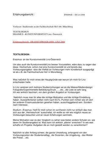 Erfahrungsbericht : - Hochschule Hof