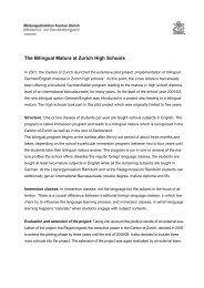 The Bilingual Matura at Zurich High Schools