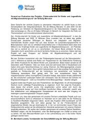 Kurzbericht der Evaluation - Stiftung Mercator