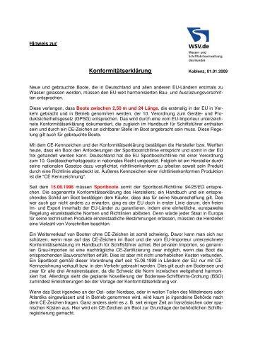 Hinweise zur Konformitätserklärung - Wasser- und Schifffahrtsamt in ...