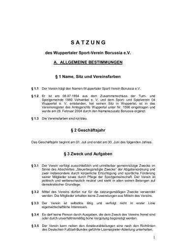 Satzung PDF - Wuppertaler SV Borussia eV