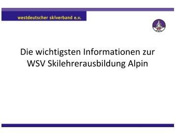 Die wichtigsten Informationen zur WSV Skilehrerausbildung Alpin