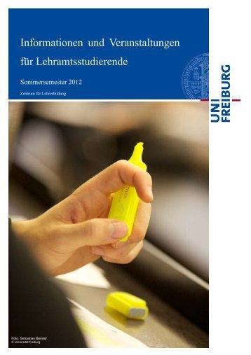 SoSe 2012 - Zentrum für Lehrerbildung - Universität Freiburg