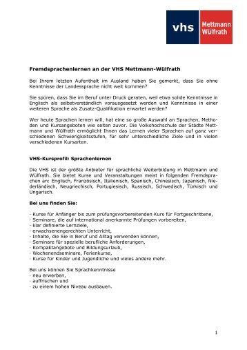 Informationen zum Sprachenlernen - Volkshochschule Mettmann ...