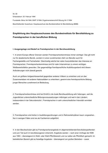 Empfehlung zu Fremdsprachen in der beruflichen Bildung - BiBB