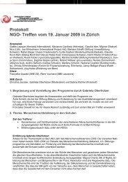NGO- Treffen vom 15 - Stiftung Bildung und Entwicklung
