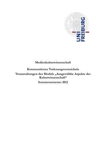 Medienkulturwissenschaft Kommentiertes Vorlesungsverzeichnis ...
