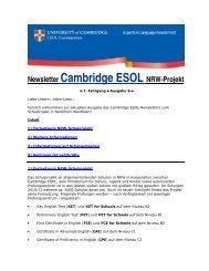 NRW-Schulprojekt Newsletter Juli 2011 - Cambridge ESOL