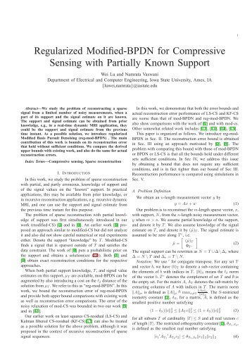 Regularized Modified-BPDN for Compressive Sensing with Partially ...