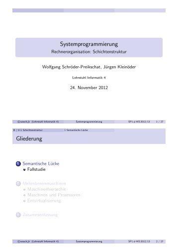 Systemprogrammierung Gliederung