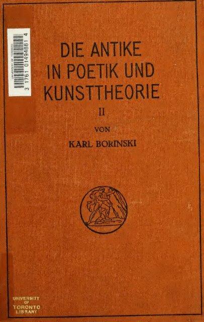 Die Antike in Poetik und Kunsttheorie : von Ausgang des ...