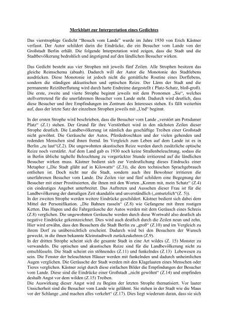 Merkblatt Zur Interpretation Eines Gedichtes Alexmayde