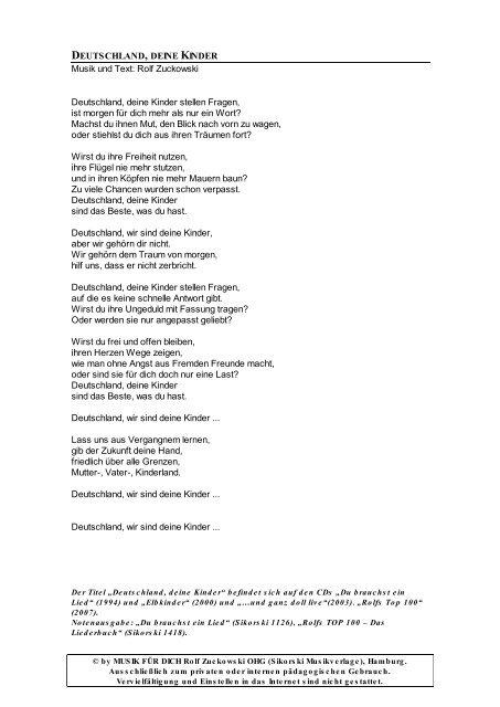 Rolf Zuckowski Weihnachtslieder Texte.Deutschland Deine Kinder Musik Und Text Rolf Zuckowski