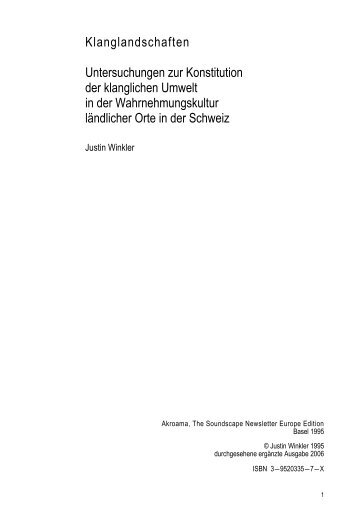 Klanglandschaften Untersuchungen zur Konstitution der ... - iacsa