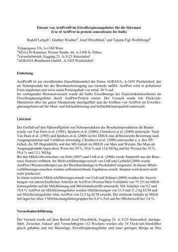 Einsatz von ActiProt® im Eiweißergänzungsfutter für die Stiermast ...