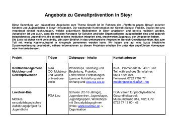 Angebote zu Gewaltprävention in Steyr