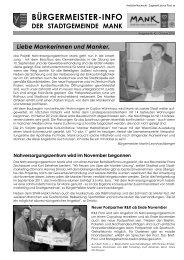 Bürgermeisterinfo Oktober 2010 - Stadtgemeinde Mank