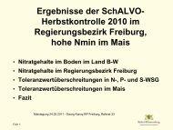 Ergebnisse der SchALVO- Herbstkontrolle 2010 im ...
