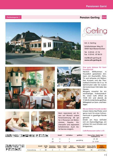 Pensionen Garni Pension Gerling D3/4 - Bad Westernkotten