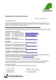 Letzte Aussteller-Informationen - Equitana