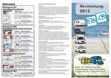 Vermietung 2013 - Camping Caravan Center Leibhammer GmbH