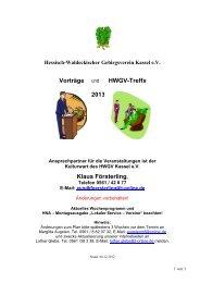 Klaus Försterling, Vorträge und HWGV-Treffs 2013 - Hessisch ...