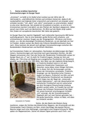 1. Steine erzählen Geschichte Grenzmarkierungen im Iburger Raum ...