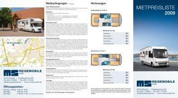 MIETPREISLISTE - MS Reisemobile GmbH