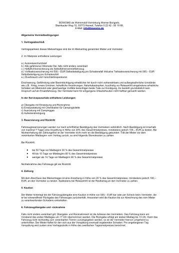 Allg. Geschäftsbedinungen - Bowomo.de Wohnmobil-Vermietung
