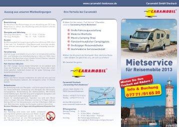 Vermietung Wohnmobile - Caramobil
