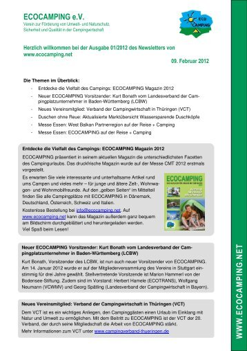 ECOCAMPING Newsletter 1/2012 - ECOCAMPING eV
